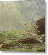 Breaking On Shore Coast Of Maine Usa Metal Print