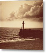 Breakwater At Sete Metal Print