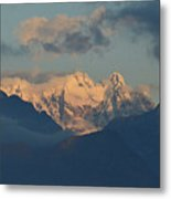 Breathtaking View Of The Italian Alps With A Cloudy Sky  Metal Print