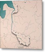 Bremen Bundesland Germany 3d Render Topographic Map Neutral Bord Metal Print