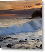 Brennecke Waves Sunset Metal Print