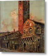 Brescia, Italy - Birds Flying Around Tower - Retro Travel Poster - Vintage Poster Metal Print