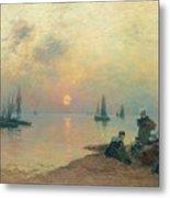 Breton Coastal Landscape At Sunset Metal Print