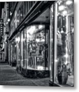 Brewery And Boutique In Black And White Metal Print