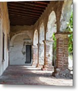 Brick And Stone Arches Line Walkway In Old Mission Ruin Metal Print