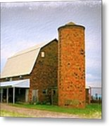 Brick Barn And Silo Metal Print