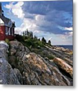 Brick Bell House At Pemaquid Point Light Metal Print