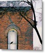 Brick Building Window With Bird Metal Print
