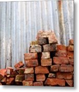 Brick Piled Metal Print by Stephen Mitchell