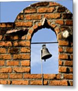 Brick Wall And Bell Metal Print