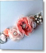 Bridal Sash Belt With Flowers And Rhinestones Metal Print