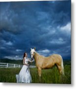 Bride And Horse With Storm Metal Print