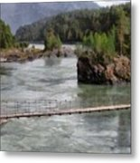 Bridge Across Mountain River Metal Print