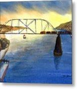 Bridge And Barge Metal Print