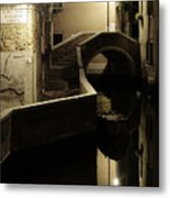Bridge And Canal In Venice At Night Metal Print