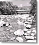 Bridge And Mountain Stream In Black And White Metal Print