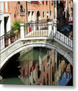 Bridge And Reflection Venice, Italy Metal Print