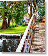 Bridge And River In Old Dutch Village Metal Print