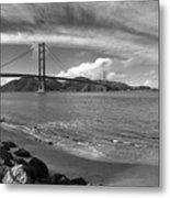 Bridge And Sea Black And White Metal Print