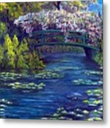 Bridge And Water Lillies Metal Print