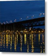 Bridge At Night In Vancouver Metal Print