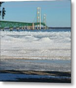 Bridge At Winter Metal Print