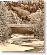 Bridge In Sepia Metal Print