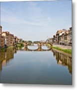 Bridge Over Arno River In Florence Italy Metal Print