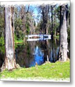 Bridge Over Pond Metal Print