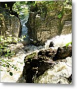 Bridge Over The River Braan, And The Black Falls In The Hermitage, At Dunkeld Metal Print