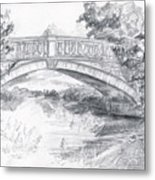 Bridge Over The River White Cart Metal Print by Brandy Woods