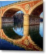 Bridge Reflection On River Metal Print by Andrea Mucelli