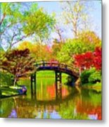 Bridge With Red Bushes In Spring Metal Print