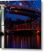 Bridges Red White And Blue Metal Print