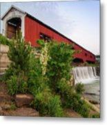 Bridgeton Covered Bridge - Indiana Square Art Metal Print