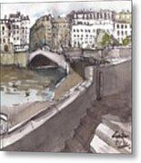 Bridging The Seine Metal Print