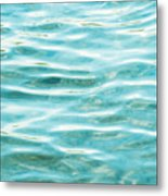 Bright Aqua Water Ripples Metal Print