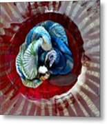 Bright Blue Coral Flower Metal Print