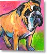Bright Bulldog Portrait Painting  Metal Print