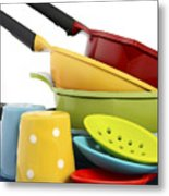 Bright Colorful Modern Kitchen Pot And Pans  Metal Print