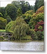 Bright Colors Of Autumn Trees On A Lake , Autumn Landscape. Metal Print