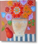 Bright Dahlias Metal Print