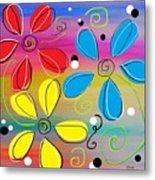 Bright Flowers Intertwined Metal Print