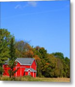 Bright Red Barn Metal Print