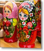 Bright Russian Matrushka Puzzle Dolls Metal Print