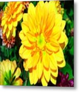 Bright Yellow Dahlia Flower Metal Print