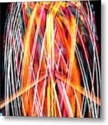 Brightly Colored Abstract Light Painting At Night From The Fireb Metal Print
