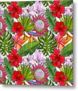 Brightly Colored Tropical Flowers And Ferns  Metal Print