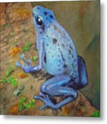 Brilliant Blue Poison Dart Frog Metal Print