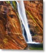 Brilliant Colored Walls Of Utah's Lower Calf Creek Falls. Metal Print